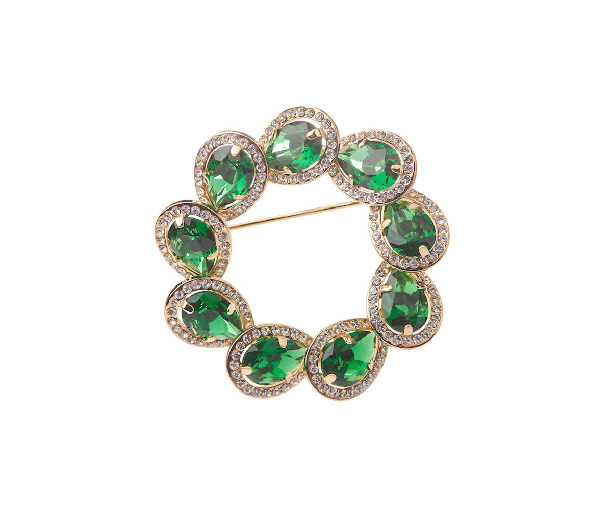 Green Glass Circle Teardrop Brooch