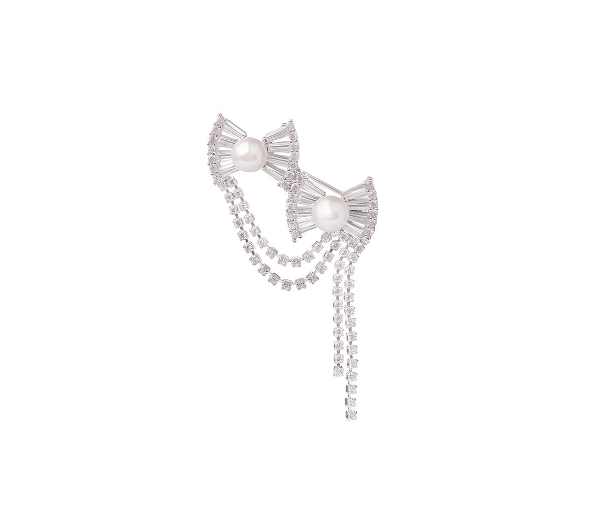 Duo Crystal Ribbon with Pearl Brooch