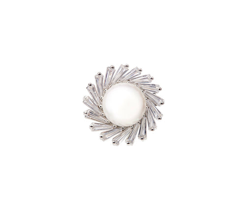 Metal Pearl Flower Brooch