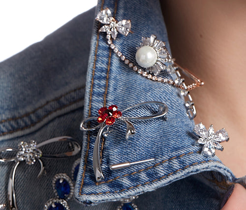 Metal Safety Pin Pearl Brooch