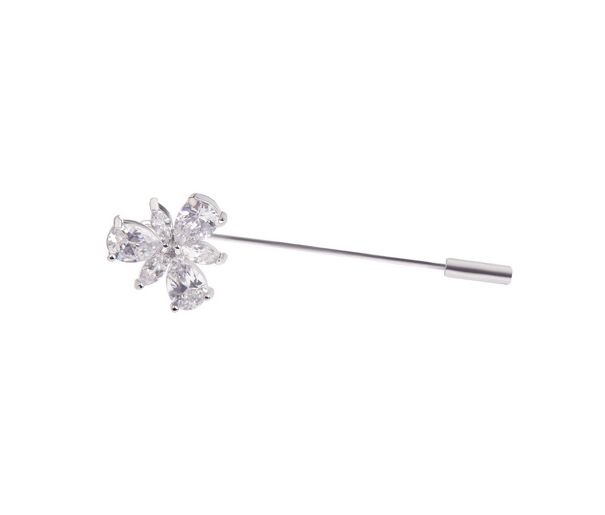 Metal Crystal Pin Brooch