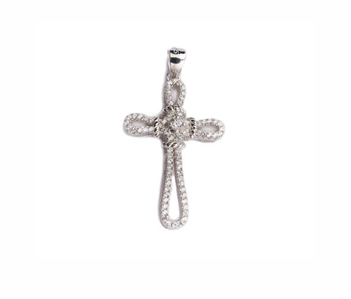 Silver Thin Braided Cross Pendant