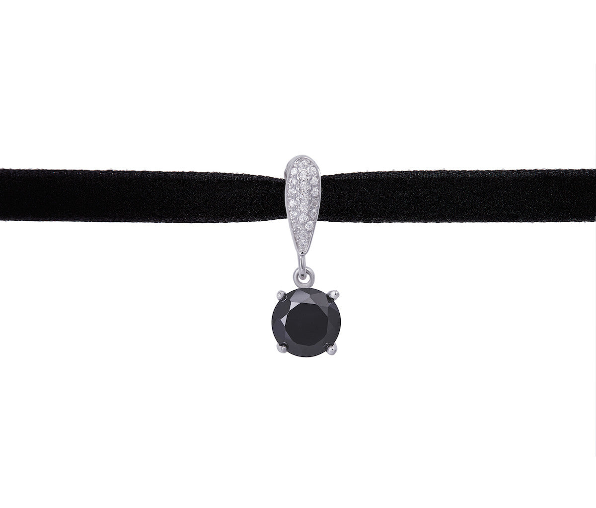 Velvet Necklace with Silver Black Diamond-shaped Pendant