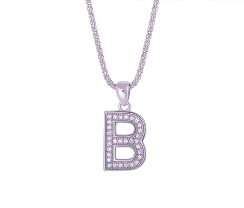 Silver Alphabet Letter 'B' Necklace