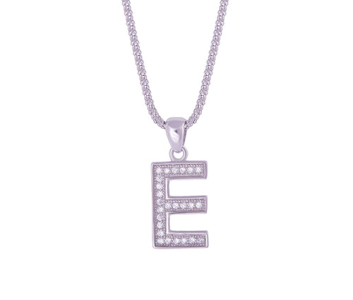Silver Alphabet Letter 'E' Necklace