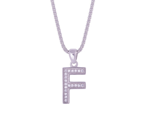 Silver Alphabet Letter 'F' Necklace