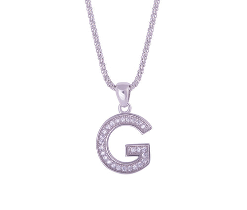 Silver Alphabet Letter 'G' Necklace