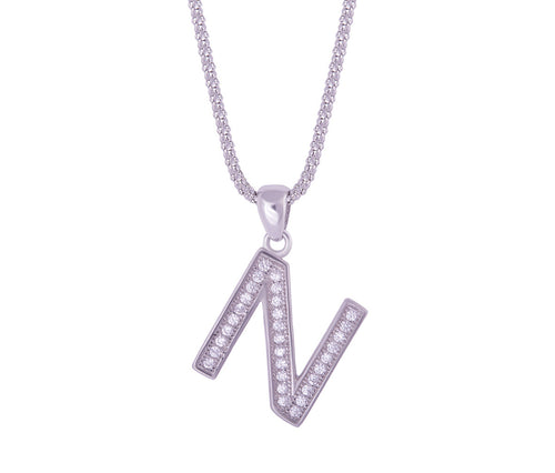 Silver Alphabet Letter 'N' Necklace