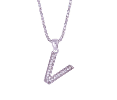 Silver Alphabet Letter 'V' Necklace