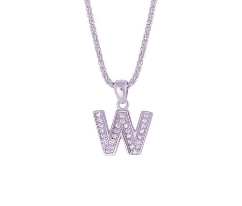 Silver Alphabet Letter 'W' Necklace