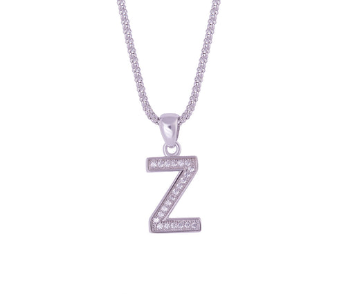 Silver Alphabet Letter 'Z' Necklace