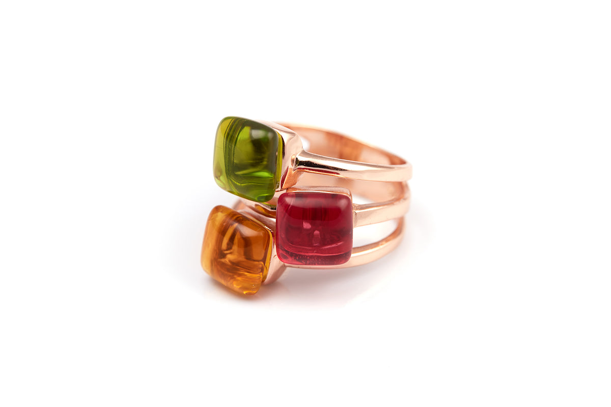 Citrine, Fuchsia & Green Obsidian Rose Gold-Plated Ring