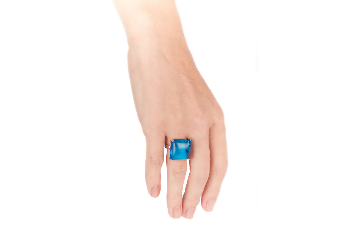 Blue Topaz Obsidian Square Ring
