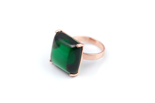 Emerald Obsidian Square Ring