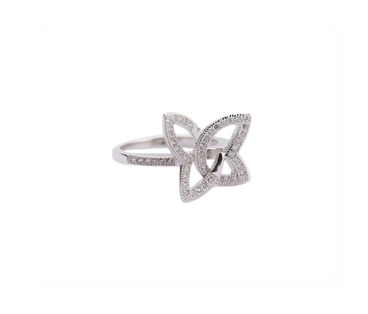 Silver Butterfly-Shaped Cocktail Ring
