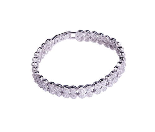 Silver Duo Row Crystal Bracelet