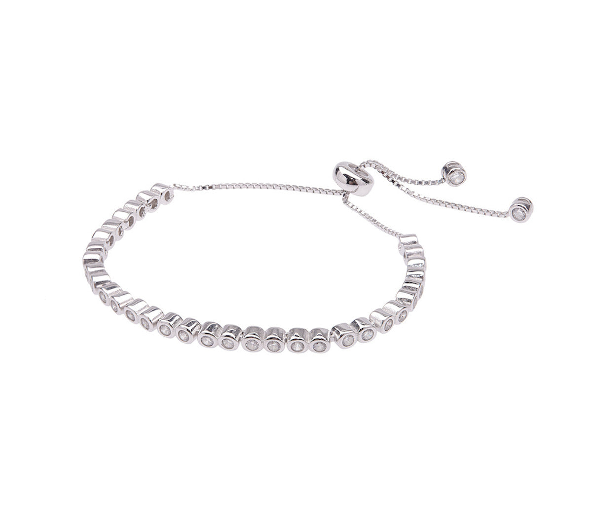 Silver Double Stones Adjustable Bracelet