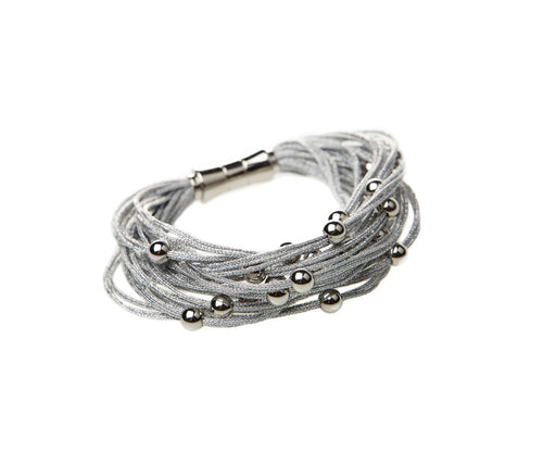 Silver Metallic Cord Steel Ball Bracelet with Steel Clasp