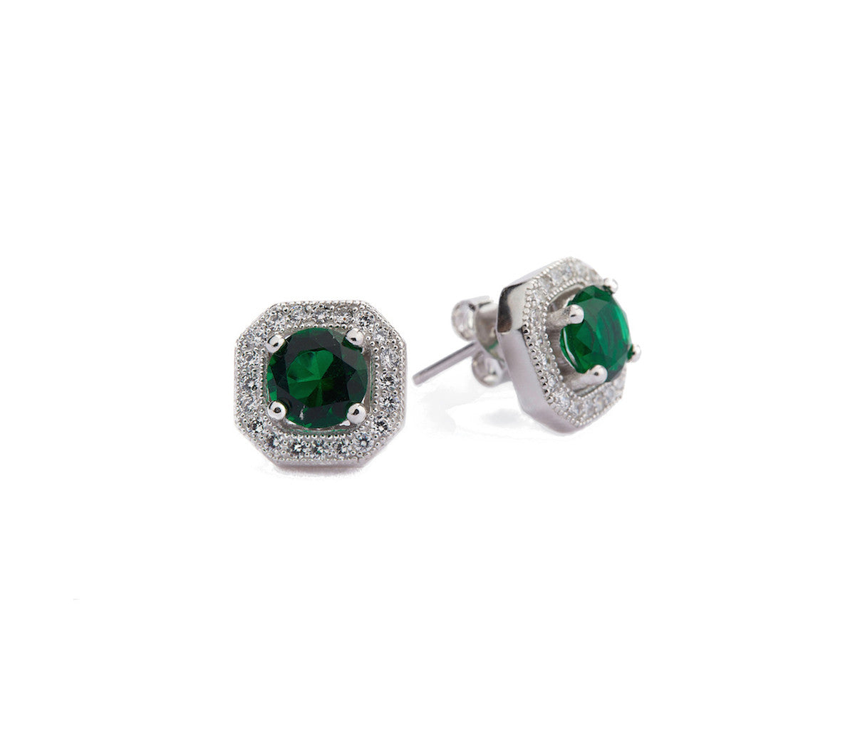 Emerald & White CZ Silver Octagonal Stud Earrings