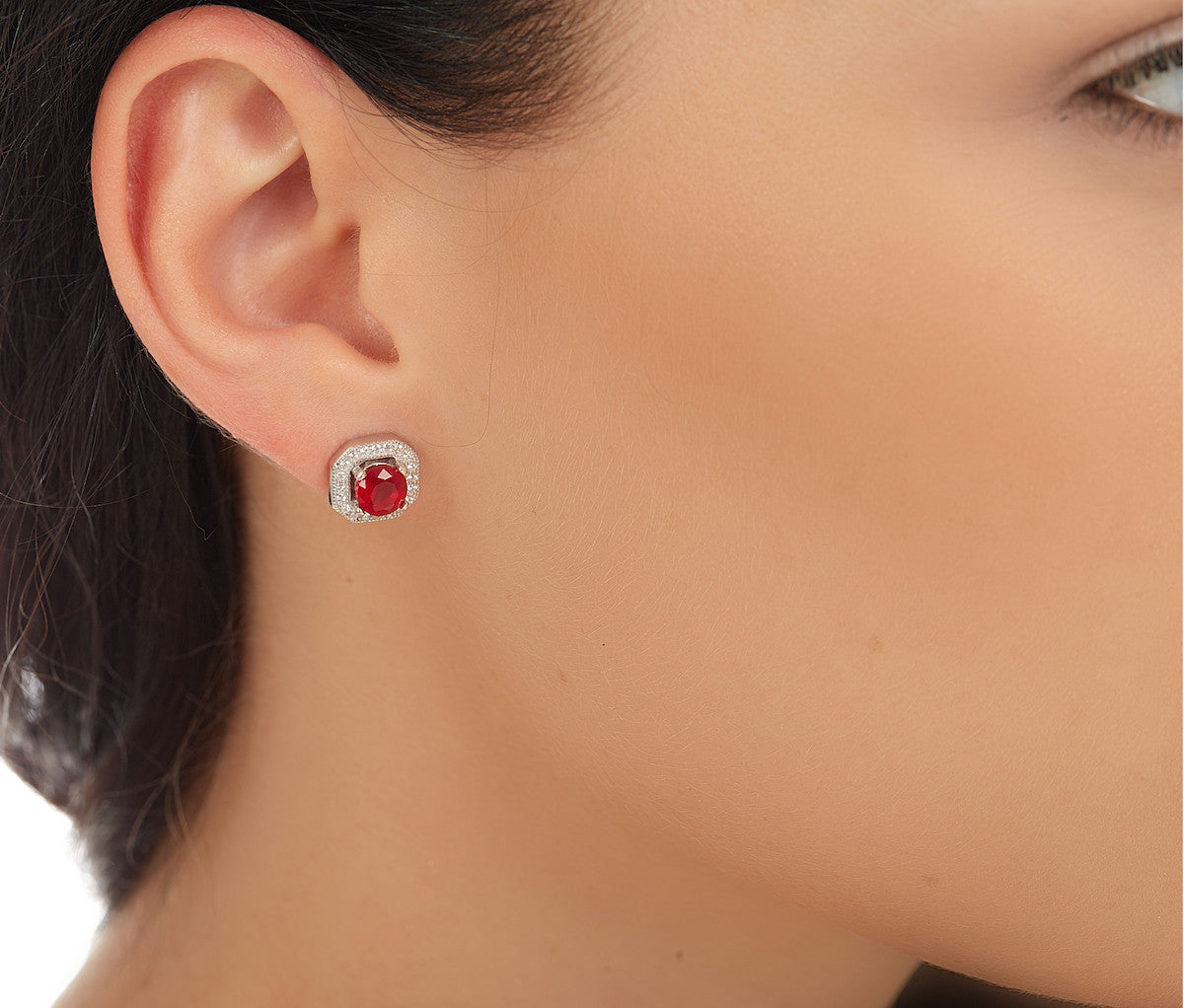 Ruby & White CZ Silver Octagonal Stud Earrings