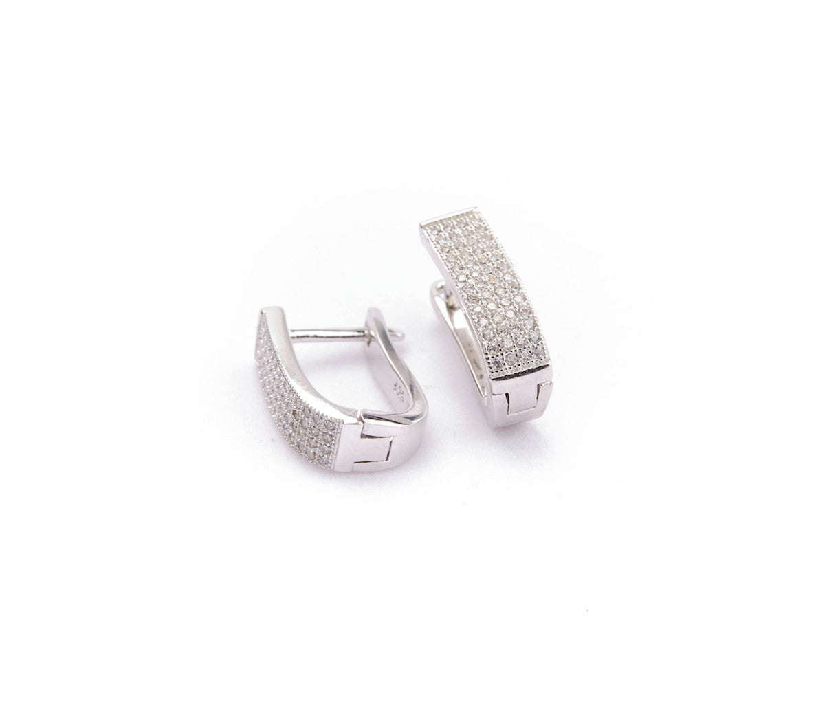 Silver Elongated Rectangular Huggies Earrings