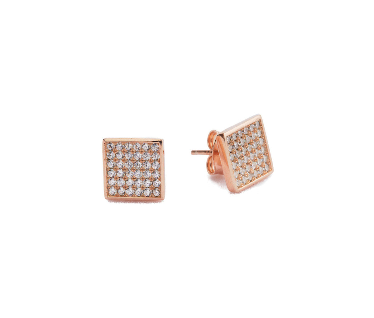 Rose Gold-Plated Rombus/Square Stud Earrings