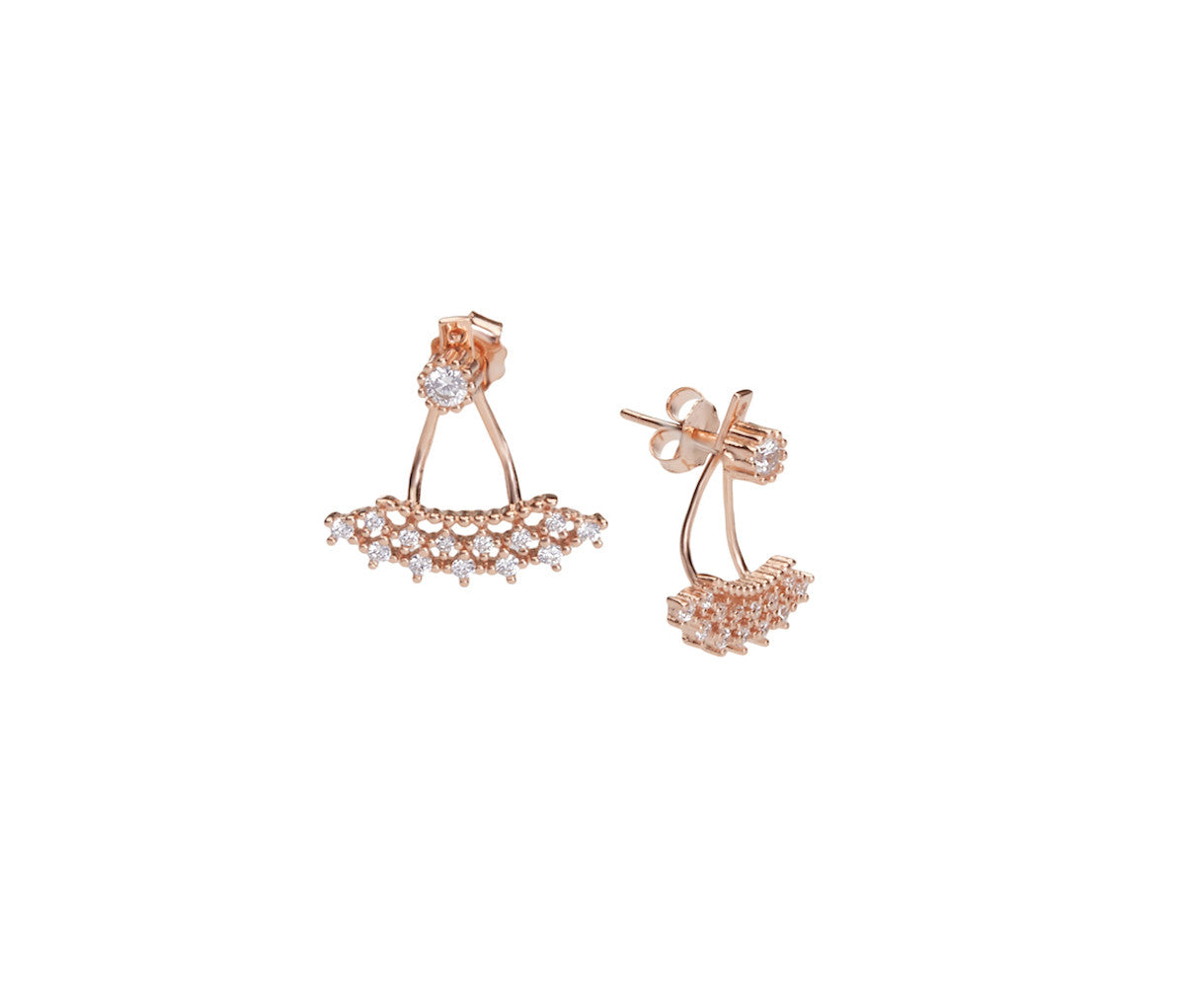 Rose Gold-plated Silver Crown-Shaped Stud Earrings