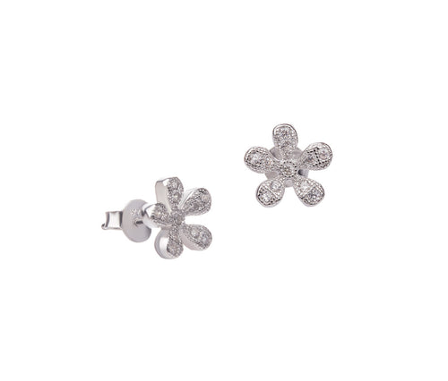 Silver Simple Flower Earrings