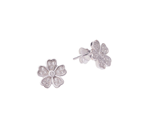 Silver Flat Flower Earrings