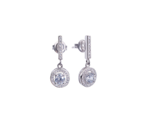 Sapphire & White CZ Silver Octagonal Stud Earrings