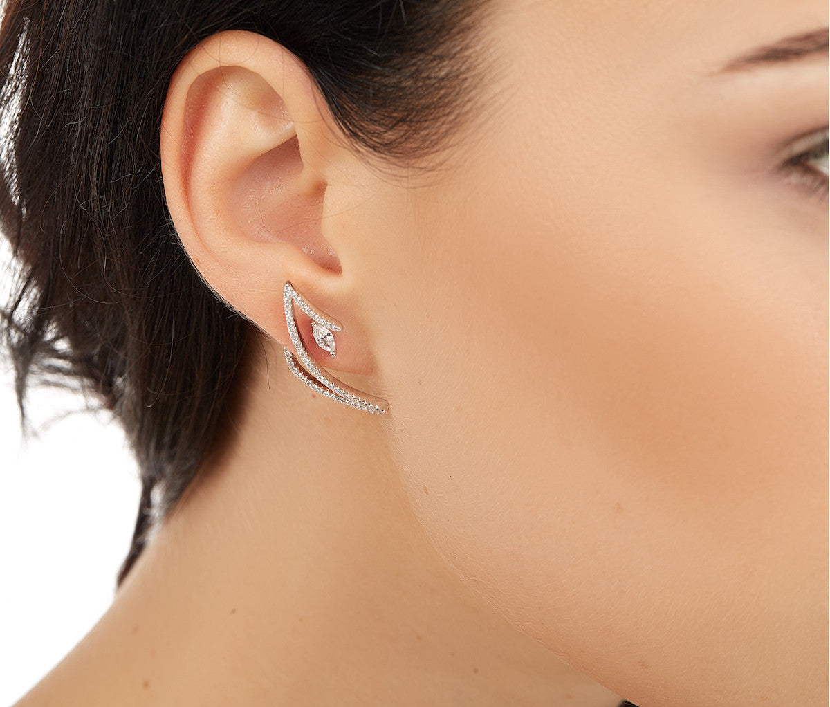 Silver Z-Shaped Stud Earrings