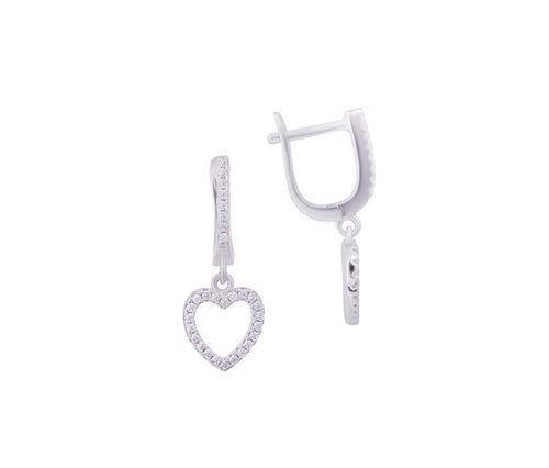 Silver Elegant Heart Earrings