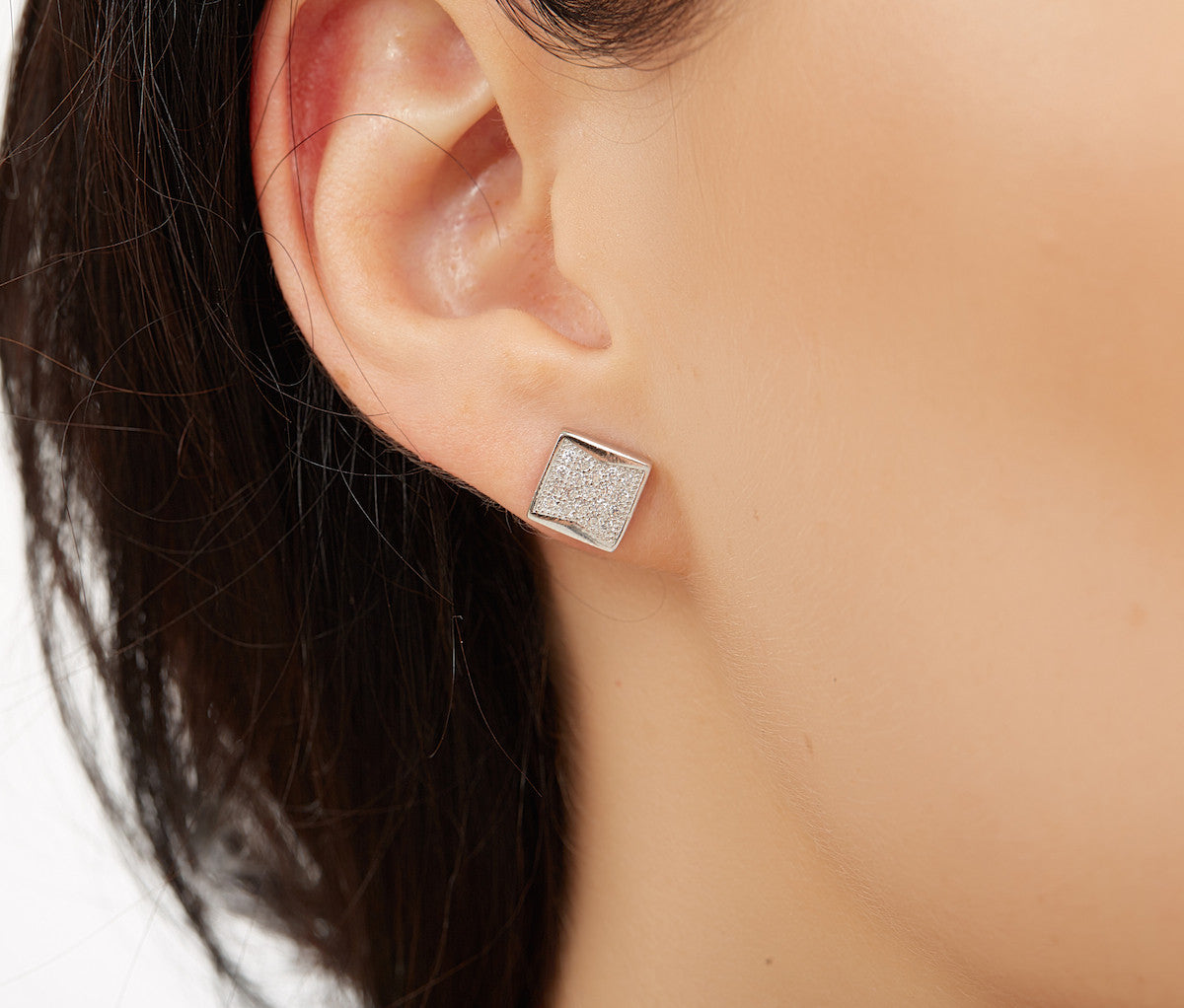 Silver Rhombus Square Stud Earrings