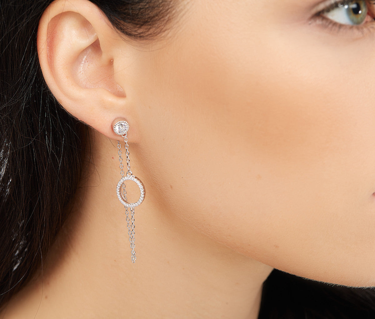 Silver Chain Earrings with a Circle Charm