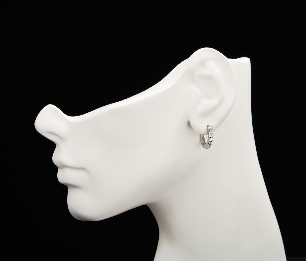 Silver Single Band Huggies Earrings