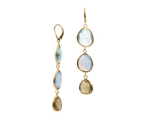 Aquamarine, Blue Opal & Smokey Quartz Obsidian Earrings