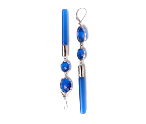 Blue Cat's Eye Obsidian Earrings