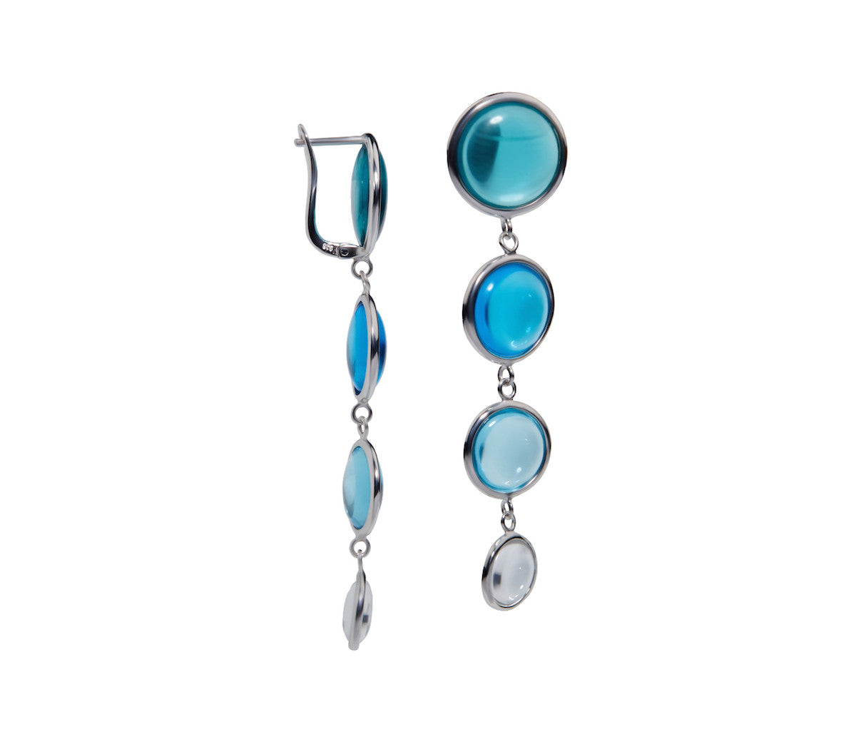 Blue Tourmaline, Blue Topaz, Aquamarine & Crystal Obsidian Earrings