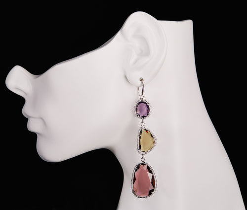 Amethyst, Smokey Topaz & Tourmaline Obsidian Earrings