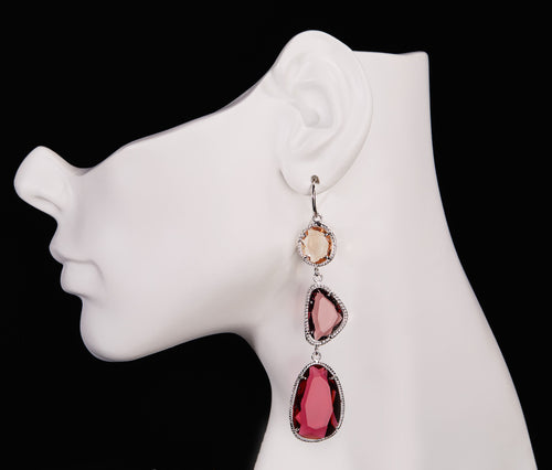 Champagne, Tourmaline & Fuchsia Obsidian Earrings