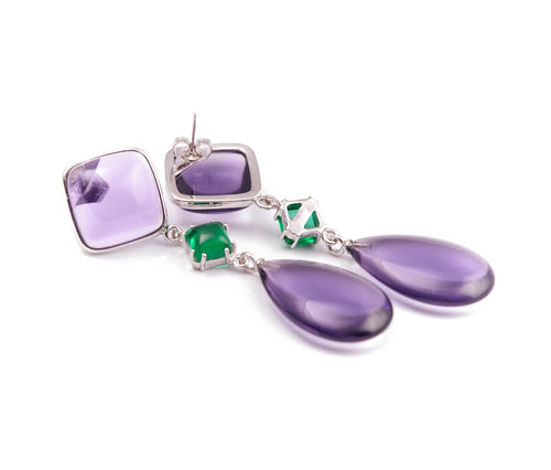 Amethyst & Emerald Obsidian Silver Teardrop Earrings