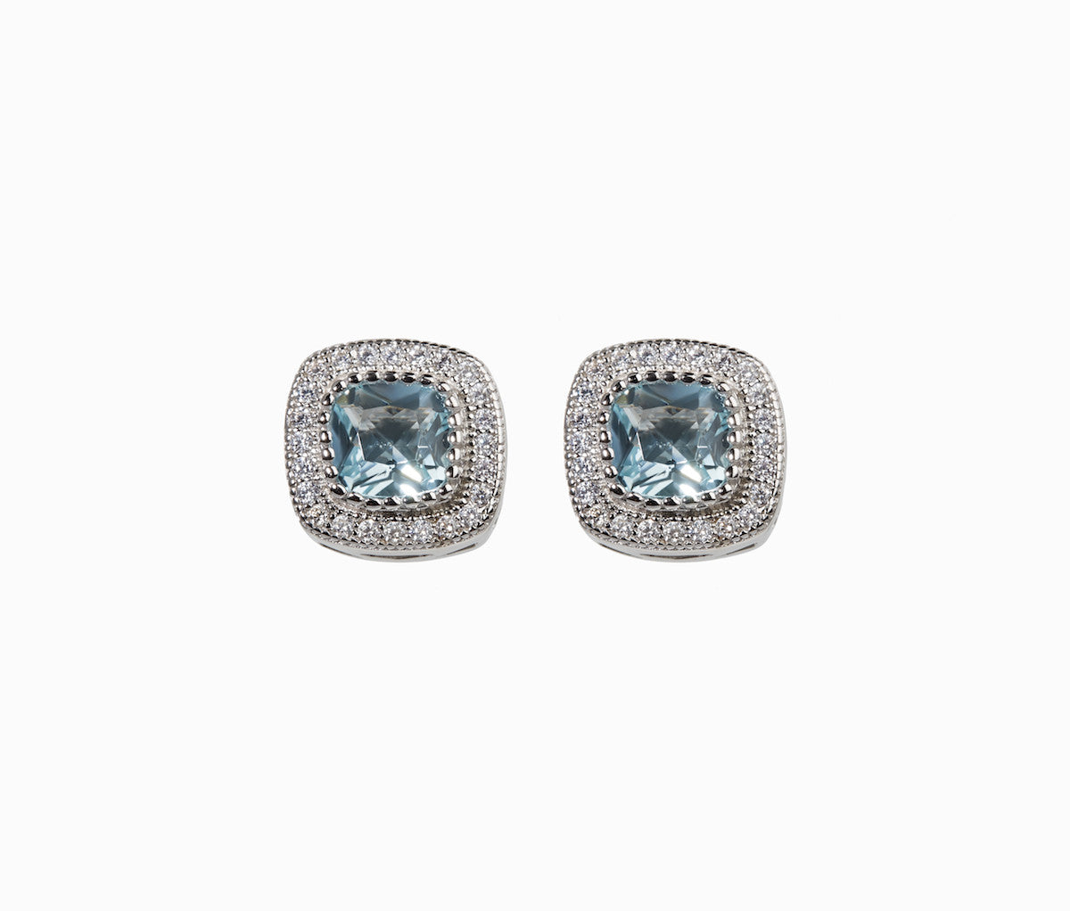 Light Blue Topaz Stud Earrings