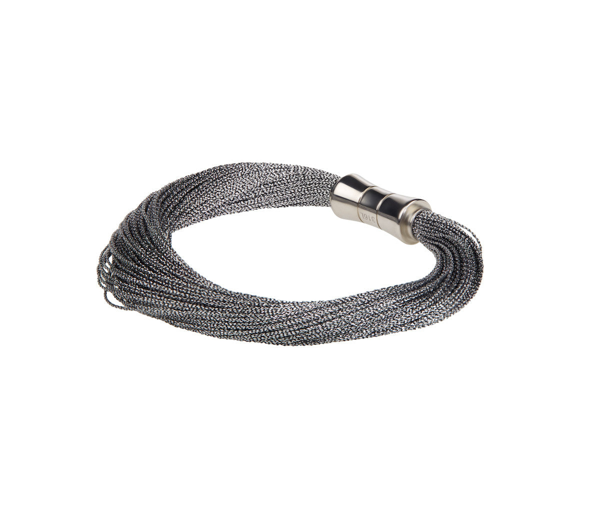 Silver-Black Metallic Cord Bracelet with Steel Clasp