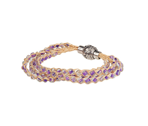 Purple Plait Beads Bracelet