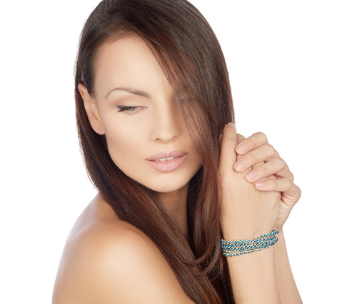 Light Blue Plait Beads Bracelet