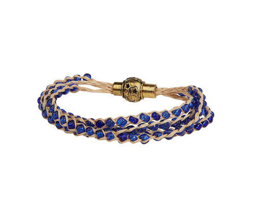 Blue Plait Beads Bracelet