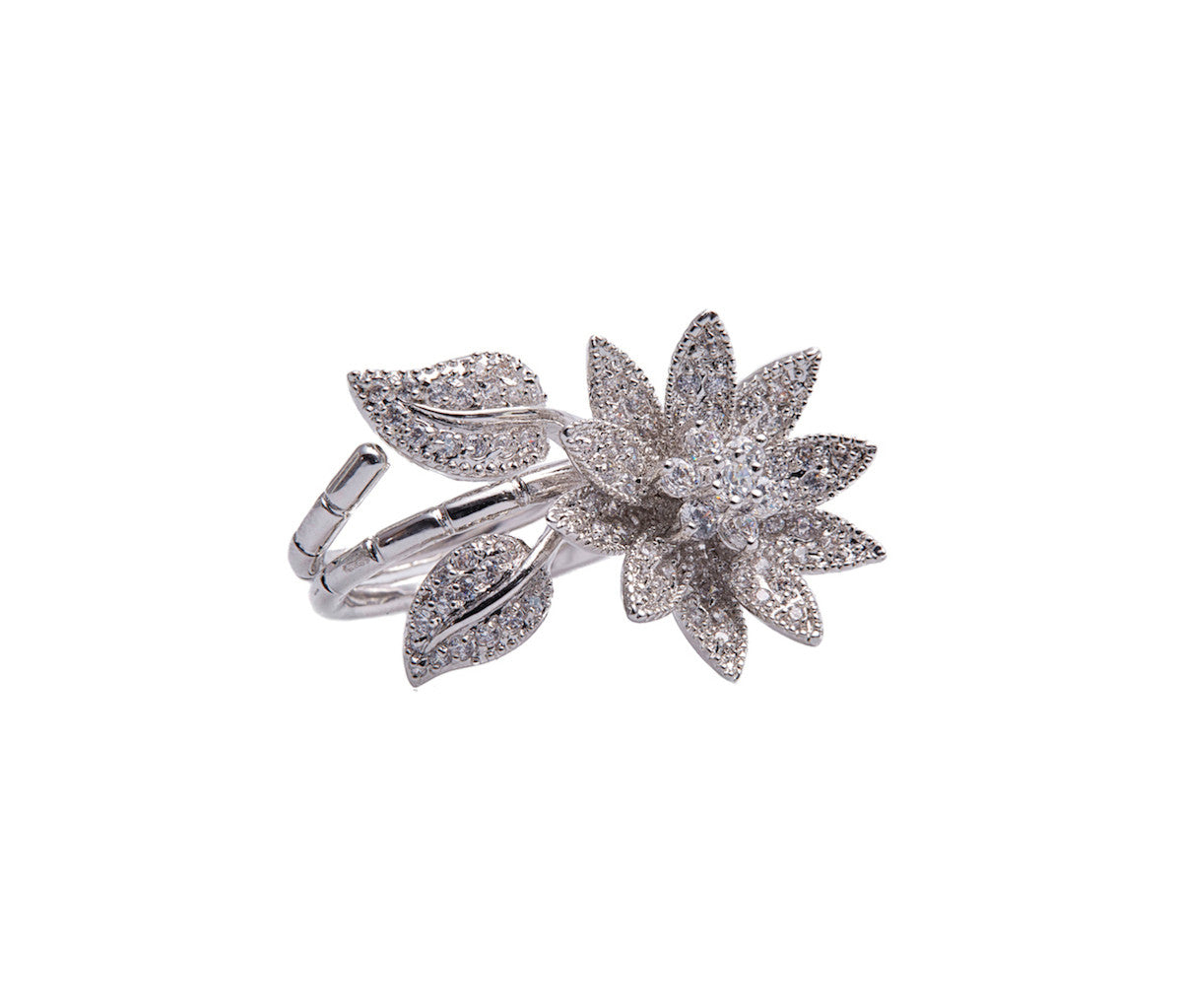 Silver Sizeable Statement Flower-Shaped Ring