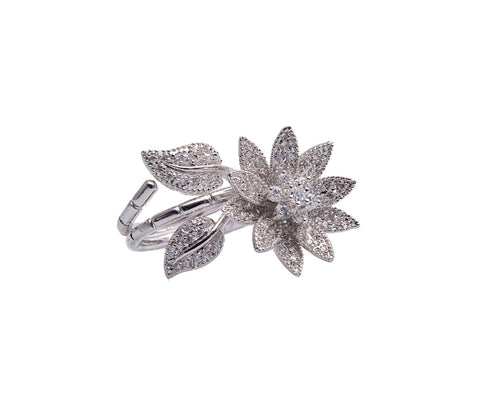 CZ Silver Geometrically Shaped Six-Band Ring