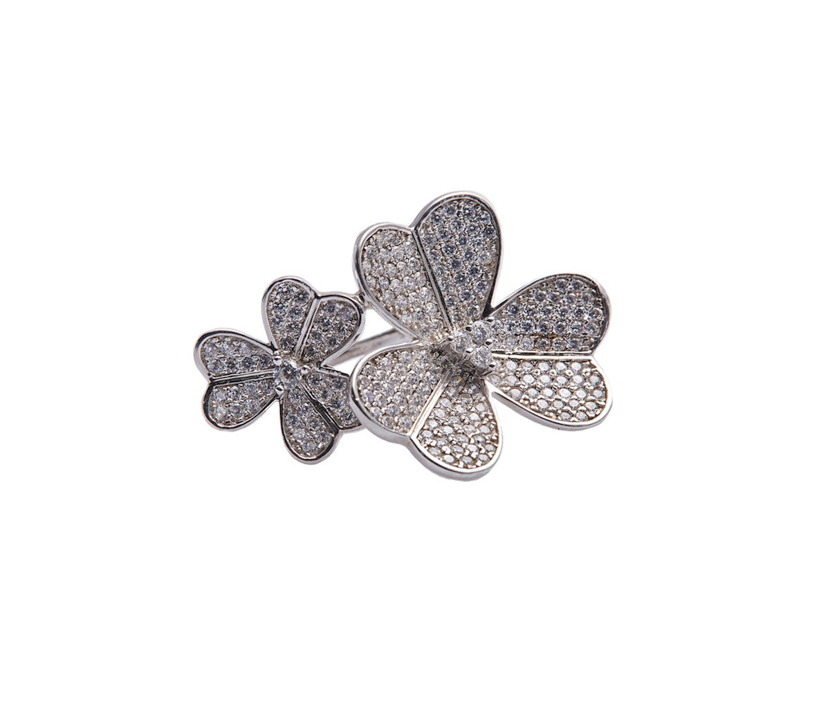 Silver Duo Flowers Statement Ring