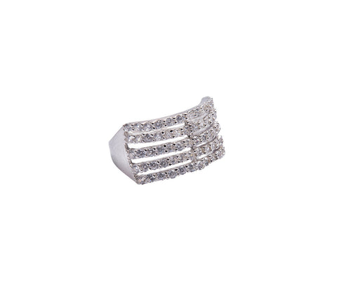 Silver Dice U-Shaped Ring